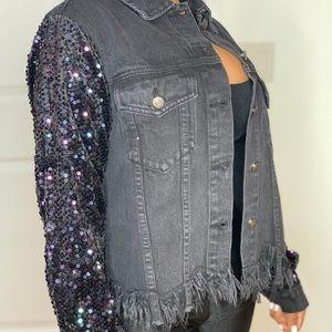 Sequin Black Jean Jacket